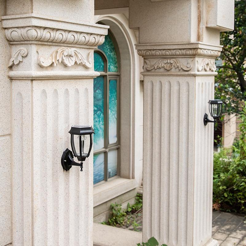 Retro Garden Aluminum Outdoor Led Solar Powered Wall Lamp