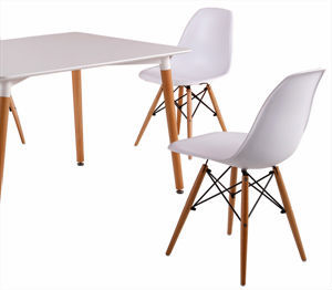 Modern White Plastic Chair With Wooden Legs