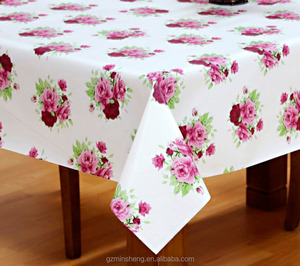 Red Rose Printing Smooth PVC Table Cloth