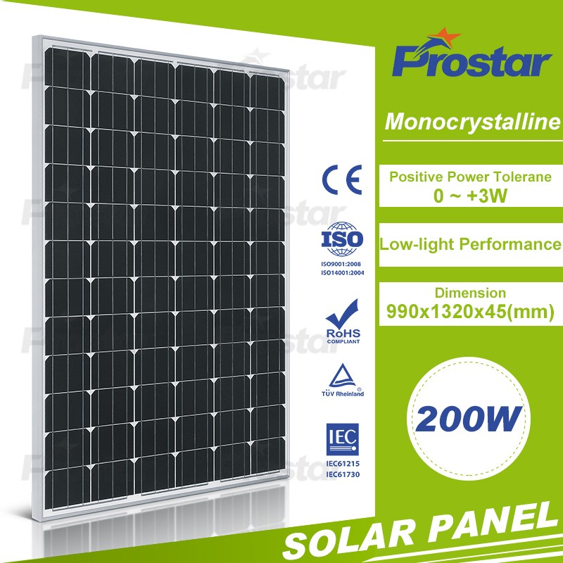 high efficient painel solar 200w mono celdas solares for solar power plant