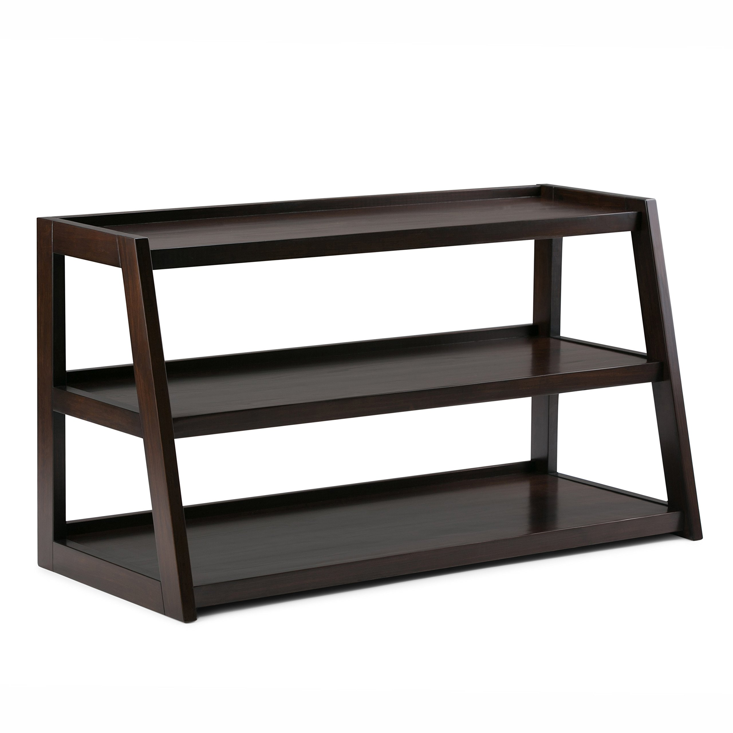 Get Quotations Simpli Home Sawhorse Solid Wood Tv Media Stand Dark Chestnut Brown