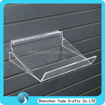 Acrylic Slatwall Display Trays Clear Lucite Shoes Display Rack ...