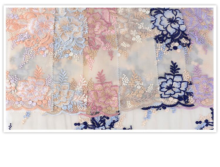Alibaba supplier Oem accept elegant fancy floral flat mesh lace fabric korea