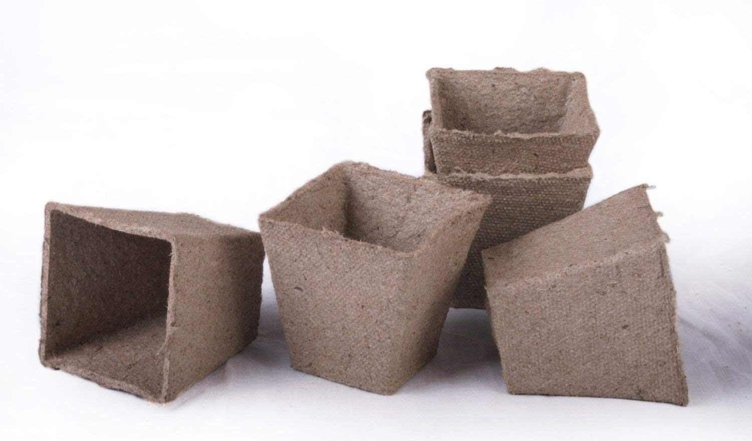 30 NEW Square Jiffy Peat Pots Size 3x3 ~ Pots Are 3 Inch Square At the Top and 3 Inch Deep.