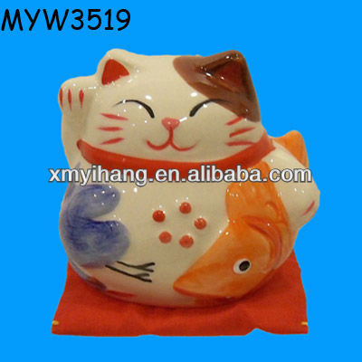 Cute japan fortune ceramic painted decorative Kawaii Cat Welcome statue hello kitty decor