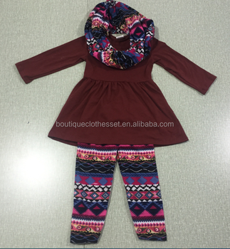 d53e0029b China supplier aliexpress wholesale clothing ningbo baby kids wear firm  cute aztec legging scarf outfits