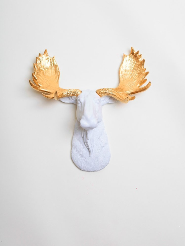 Mini Moose Head Wall Decor – the Mini Glitz White Moose Head with Gold Antlers By White Faux Taxidermy | Resin Faux Moose Wall Mount | Chic Home Decor Hanging Sculpture
