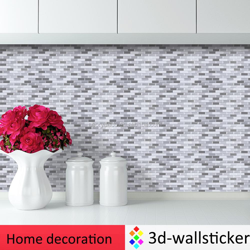 Vente chaude nouveau design d coration auto adh sif mur - Mosaique auto adhesive salle de bain ...