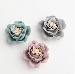 Decorative 3d handmade small microfiber fabric flowers for shoes FW008