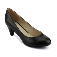 Cheap price comfort low heel black leather upper office dress lady shoes wholesale custom working thick heel job shoe for women