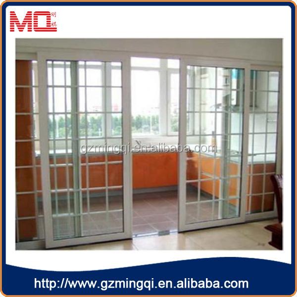 Grill Design Pvc Interior Door/soundproof Transparent Glass Sliding Door  For House