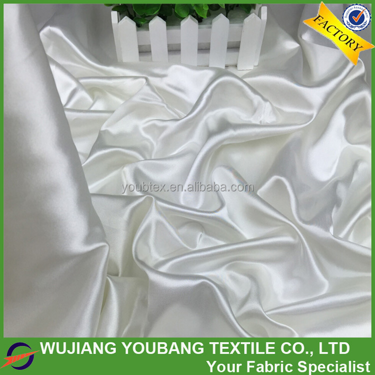 2017 hot sale smooth soft shiny polyester ivory satin <strong>material</strong>