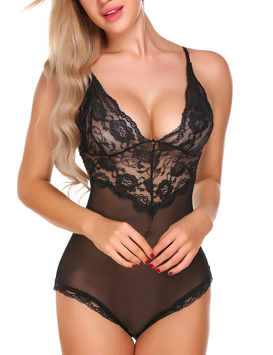 Get Quotations · Aimado One Piece Lingerie for Women Deep V Lace Mesh Floral  Teddy Bodysuit S-XXL d57260d1d