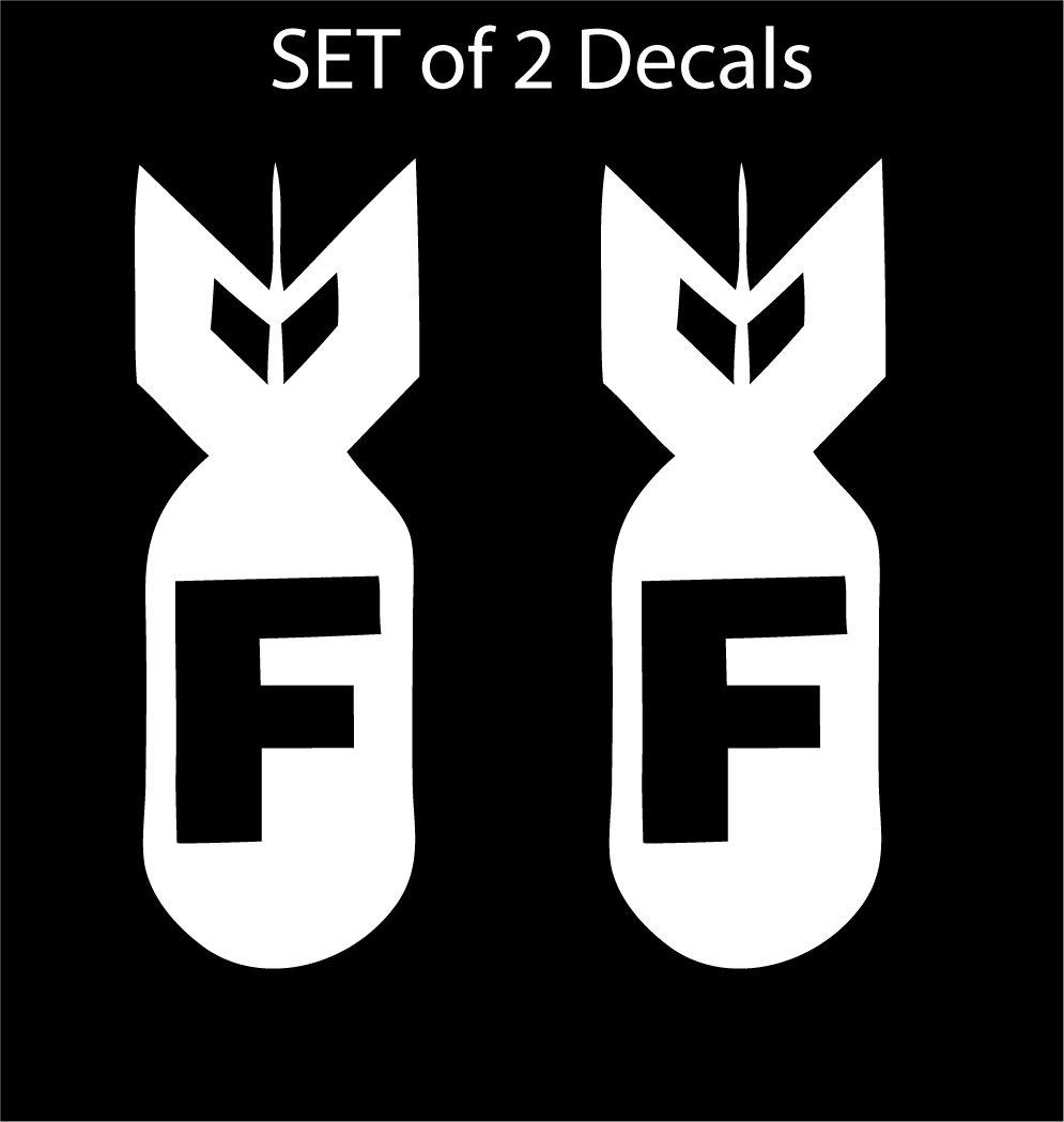"Set of 2 - JDM Advan F Bomb - Vinyl Decal Sticker / 6"" X 2.1"" (01 White, Vinyl Type - Permanent - Auto / Glass)"