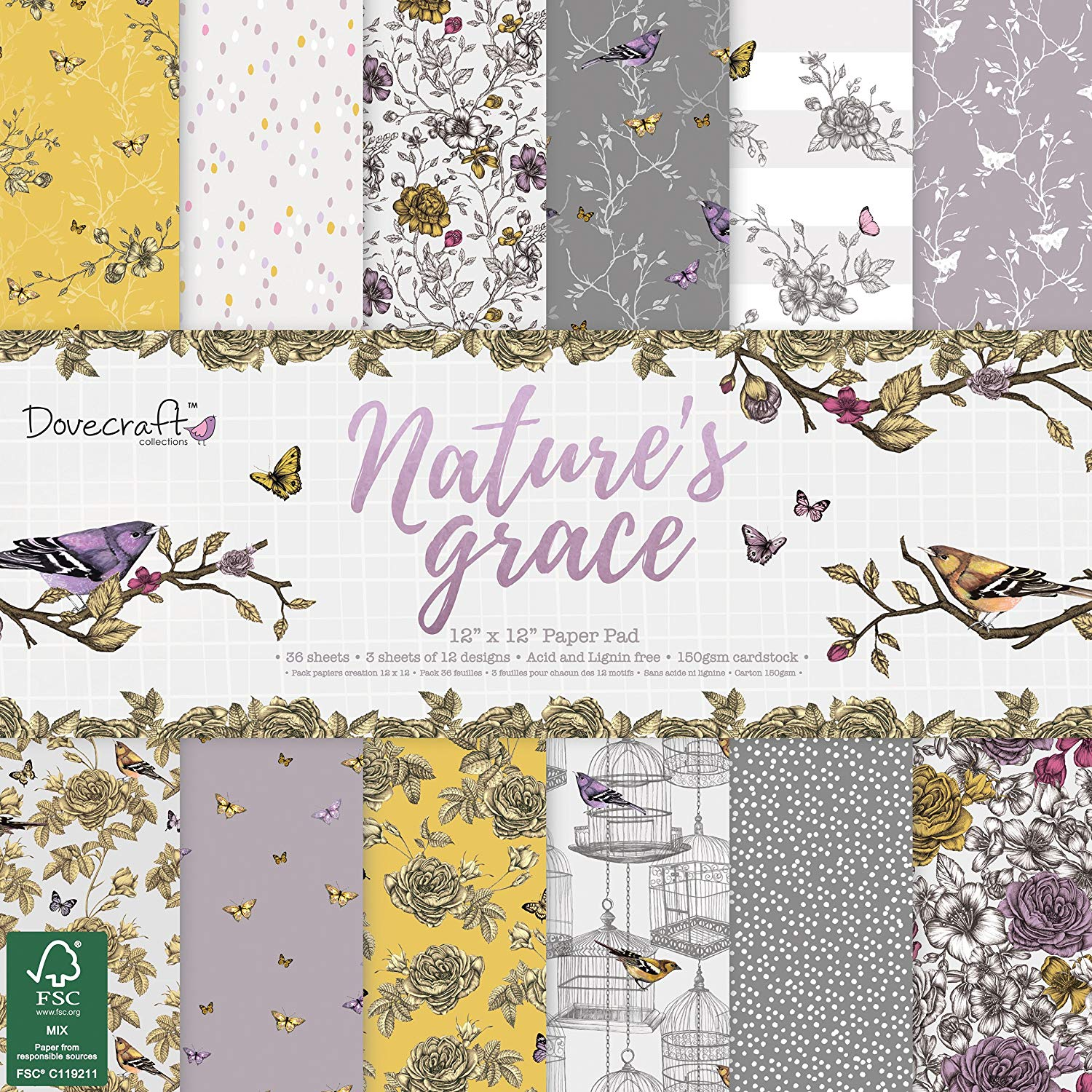 Dovecraft Premium Nature's Grace Paper Craft Collection - FSC 12x12 Paper Pack