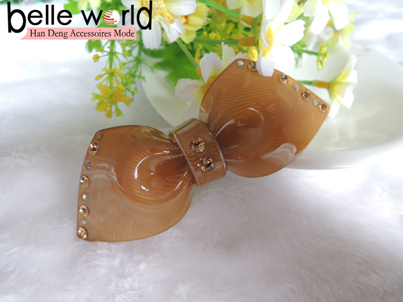 Acrylic colored blue brown bow knot shaped hair stick barrette for women