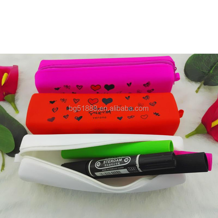 Mix color silicone pencil case pencil bag for pen