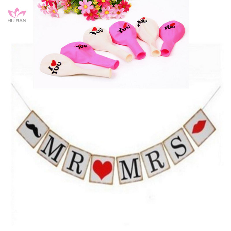 Wedding Sign Photo Prop Date Garland Mr Mrs And Pink Balloon Wedding Date Banner