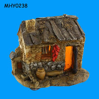 Outdoor decoration with light resin mini Fairy Houses