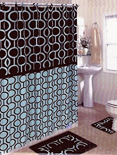 Get Quotations · Brown U0026 Blue 15 Piece Bathroom Set Bath Rugs Shower  Curtain U0026 Rings