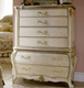 French style solid wood antique finishing white color living room furniture six drawers side cabinet