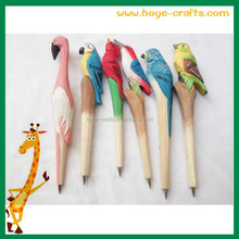 Novelty school stationary gift wood hand-made ballpoint pen wood animal shape carving pen
