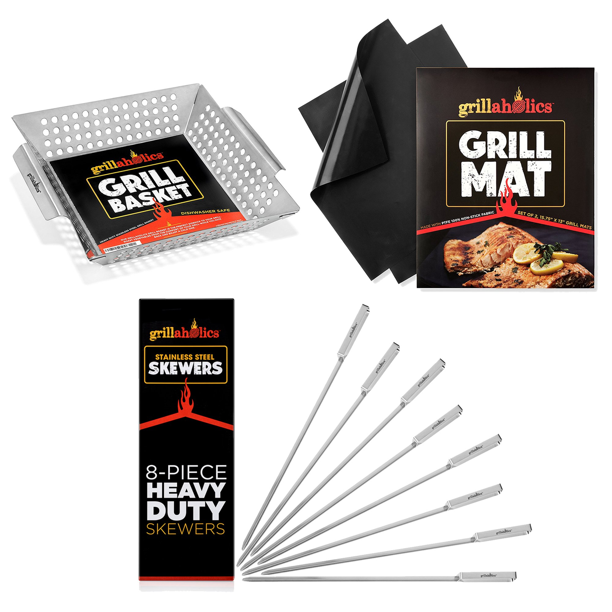 Grillaholics Veggie Lovers Bundle - Includes Set of 2 Non Stick Grill Mats, Stainlesss Steel BBQ Skewers, and Heavy Duty Grill Basket - Perfect Grilling Accessories Package