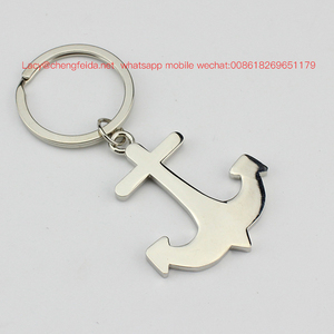 Keychain keyring parts for multiple keys ship's anchor shaped metal keychain