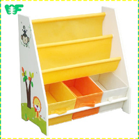 High quality new products kindergarten book shelf for kids, wood kids book shelf