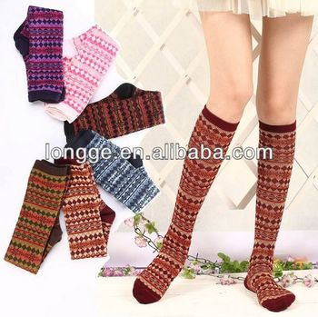 Cute Worn Soft Colorful Patterned Knee High School Girl Socks Buy