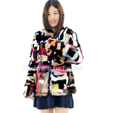 CX-G-A-36 Hand Knitted Fashion Genuine Mink Fur Coat
