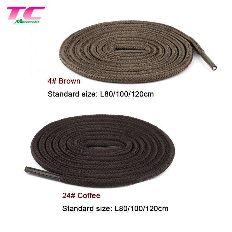 "Morecredit  3/16"" Thick Solid Colors Polyester Laces Rope Wholesale Round Braided Shoelaces For All Type Shoes"