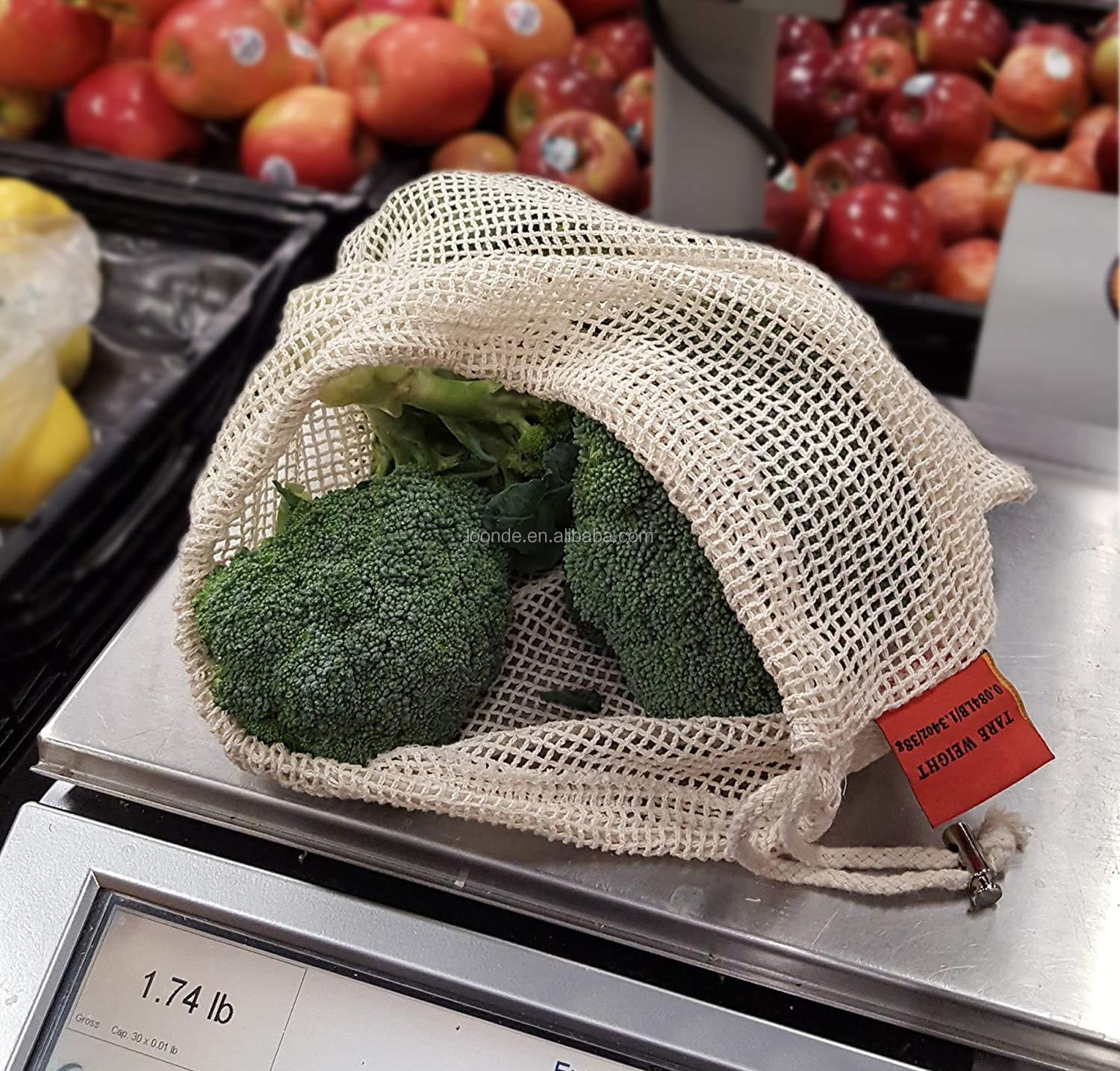 Reusable Produce Bags Organic Cotton Vegetable Bags Mesh Cotton Veggie Bags Fresh Bags  Set of 6 (2 of M, L, XL)