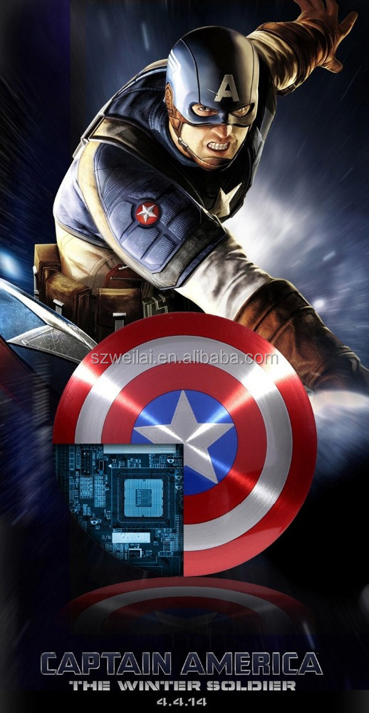 New arrive 6000mah Captain America PowerBank,6000mah Marvel power bank,Doul usb UFO power bank