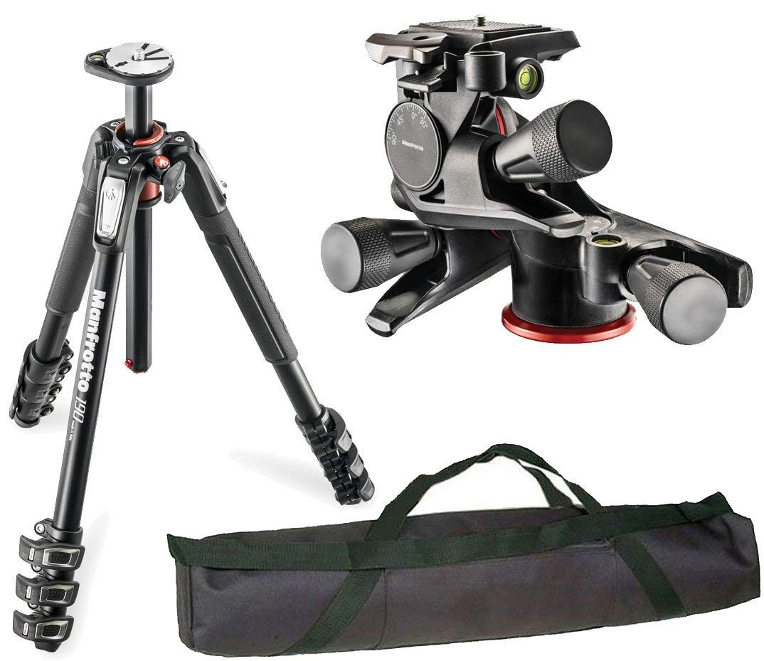 63 Max Height Bundle MHXPRO-BHQ6 XPRO Ball Head with Top Lock Quick-Release Manfrotto MT190 XPRO4 190 Aluminum 4-Section Tripod with Horizontal Column Supports 15.4 lbs