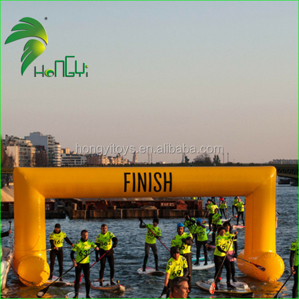 Strong Sport Yellow Racing Inflatable Finish Arch For Outdoor event