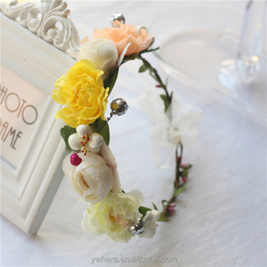 Yellow flower garland and wreath for hair accessory