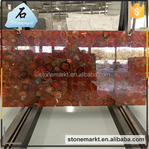 Factory supply translucent semi precious large gemstone red agate slab