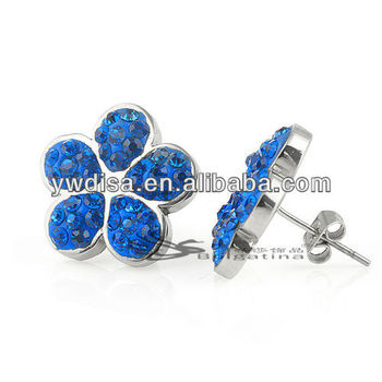 New Fashion Flower Shape Stud Earrings With Sapphire Crystal
