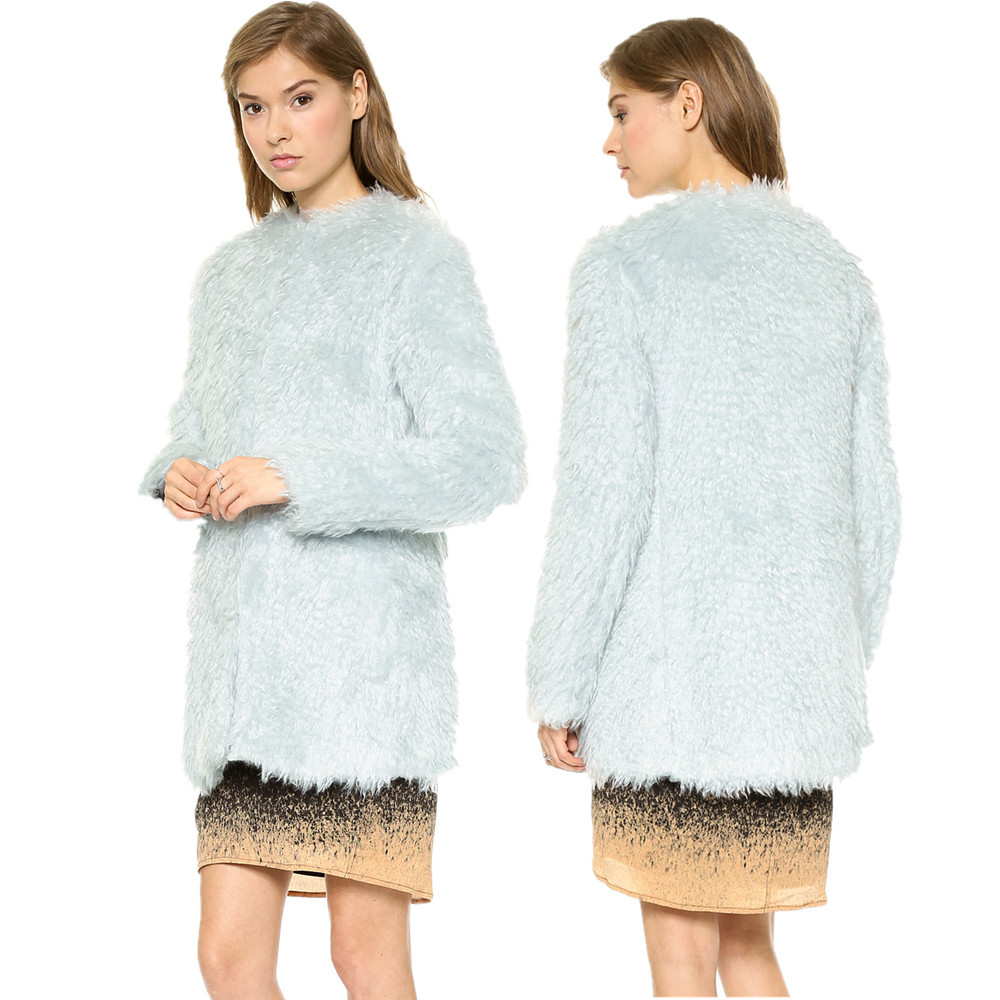 accf1922e6e Buy Elegant fur top light blue color hook buckle tightening plush fur coat  faux furry coats for women colete feminino de pele in Cheap Price on  m.alibaba. ...