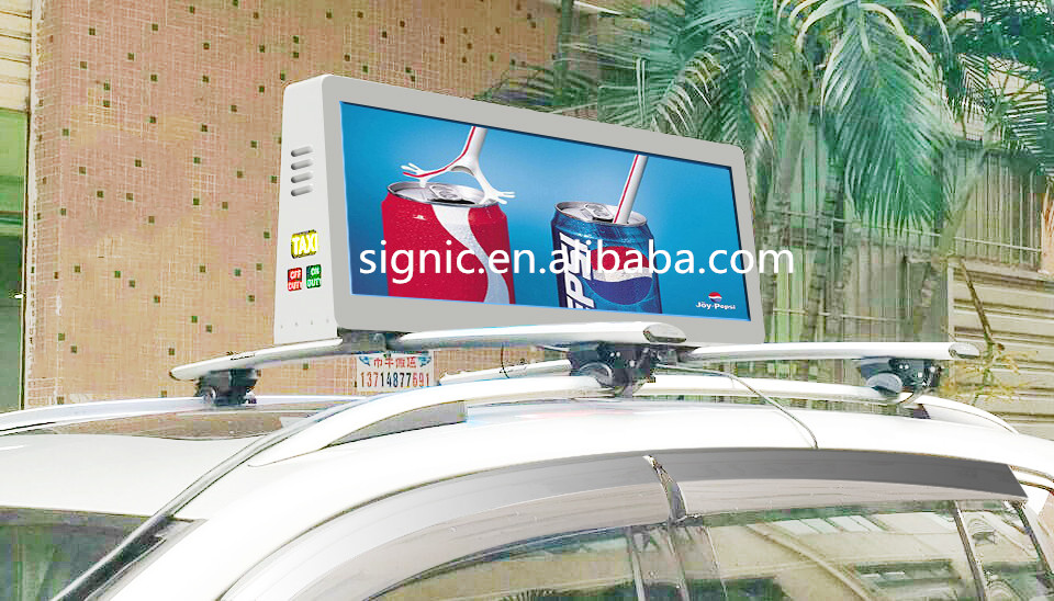 3G  led taxi roof sign waterproof two side taxi top led screen for outdoor advertising