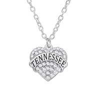 Tennessee usa state Silver Heart shaped engraved Charm necklace