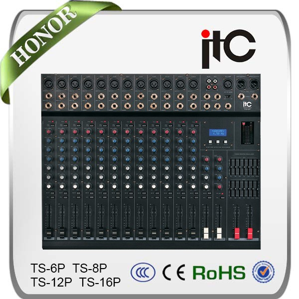 TS-16P Series Good Quality 6 8 12 16 Channel Powered Audio Mixer Console