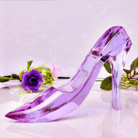 Best K9 Material Wedding Favor Gift Glass Crystal Shoes Crystal High-heeled Shoes