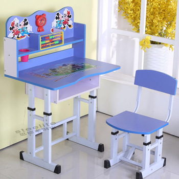 Used School Furniture Daycare Cartoon Picture Kids Study Table And Chair  For Sale