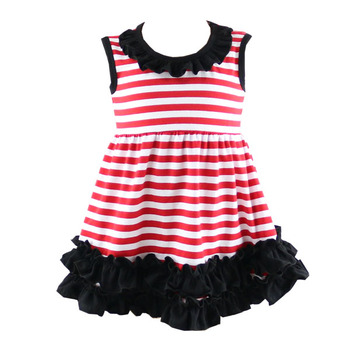379793e8d549 2019 Fashion new design baby cotton frocks designs 100 % cotton summer  dresses girls stripe ruffle