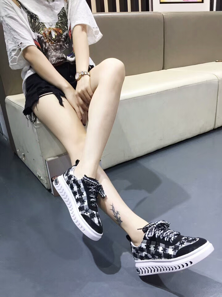 flat mesh embroidered upper female shoes casual lace upper upper Plaid Hxw1Y5