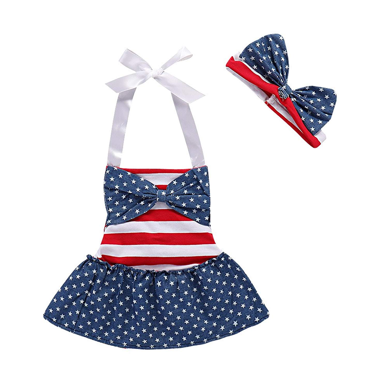 58289f0b4a37 Get Quotations · Seaby July 4th American Flag Romper Dress Striped Stars  Print Patriotic Bodysuit Outfit for Baby Girls