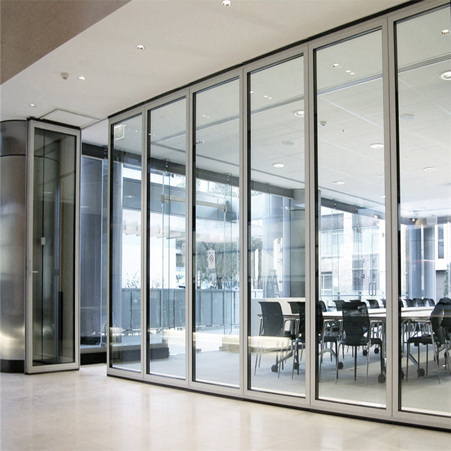 Soundproof tempered office moving glass wall system for Moving glass wall
