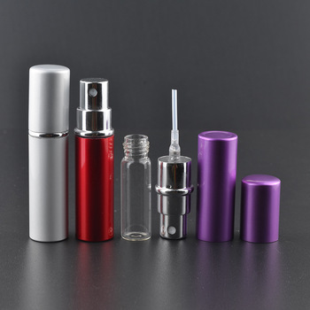 5ml travel perfume bottles pocket size refillable aluminum perfume atomizer  glass spray bottles 72087211202d